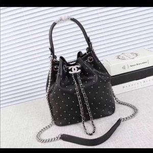Chanel black bucket shoulder bag